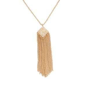 Tipsyfly Gold Color Alloy Filigree Fringe Necklace For Women_184n