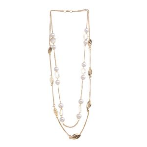 Necklaces (Imitation) - Tipsyfly Gold color Alloy Pearl Foliage Necklace for women_206N