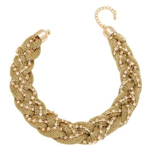 Tipsyfly Gold Color Alloy Bling Twist Necklace For Women_231n