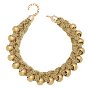 Tipsyfly Gold Color Alloy French Braid Necklace For Women_277n
