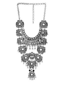 Tipsyfly Party Wear Antique Silver Necklace For Women (1 Necklace)