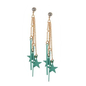 Tipsyfly Alloy Push Back Stars & Tassels Drop Earring For Women_357egrn
