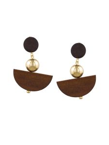 Tipsyfly Post And Back Closure Brown Alloy Drop Earrings For Womens