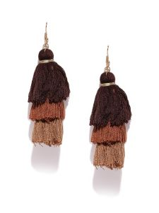 Tipsyfly Fish Hook Earwire Brown Alloy Drop Earrings For Womens(code-641ebrn)