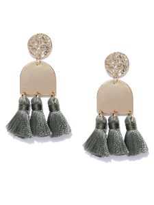 Tipsyfly Post & Back Closure Green Alloy Drop Earrings For Womens(code-650egrn)