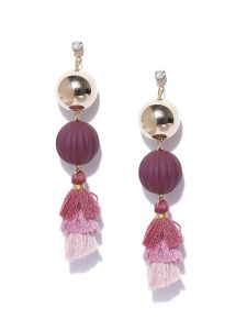 Tipsyfly Post & Back Closure Purple Alloy Drop Earrings For Womens(code-653eprl)
