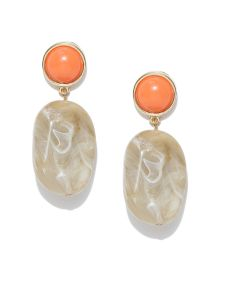 Tipsyfly Post & Back Closure Orange Alloy Drop Earrings For Womens(code-655e)