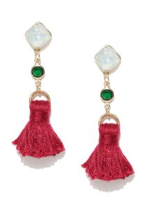 Tipsyfly Post & Back Closure Red Alloy Drop Earrings For Womens(code-657e)