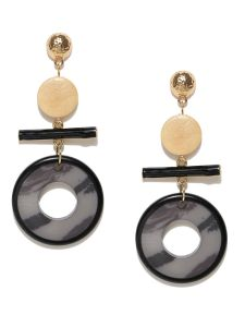 Tipsyfly Post & Back Closure Black Alloy Drop Earrings For Womens(code-659e)