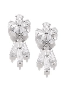 Tipsyfly Post & Back Closure Silver Alloy Studs Earrings For Womens(code-667eslv)