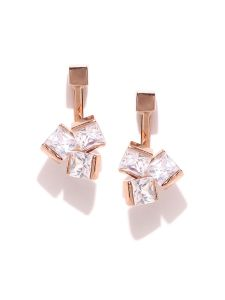 Tipsyfly Post & Back Closure Rose Gold Alloy Studs Earrings For Womens(code-669e)