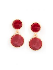 Tipsyfly Post And Back Metal Red Drops Earrings For Women