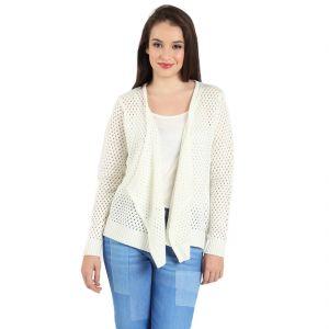 Women's Clothing - B Kind Women's Offwhite Flat knits Yarn dyed cardigan KT-1010