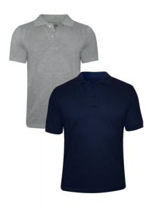 Tangy Pack Of 2 Mens Grey&blue Polo T-shirt-(code-1x2)