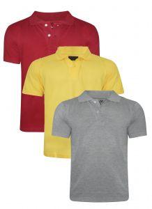 Tangy Pack Of 3 Mens Red&yellow&grey Polo T-shirt-(code-3x3)