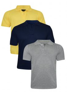 Tangy Pack Of 3 Mens Yellow&blue&grey Polo T-shirt-(code-4x3)