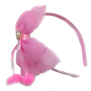 Hair accessories for girls - Tangy Kid's Ribbon Ear Hairband for Kids-(code-LightPnk)