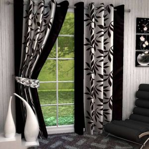 Best & Well Polyester Eyelet Window Curtain (4x5 Ft) Black - Pack Of 2
