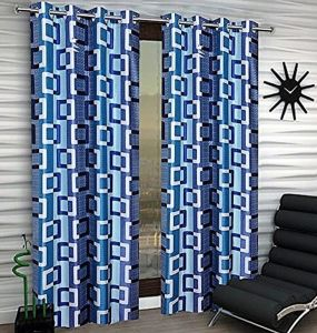 Best&well Box Polyester Eyelet Window Curtain (4x5 Ft) Blue - Pack Of 2