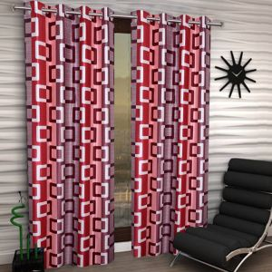 Best&well Box Polyester Eyelet Door Curtain (4x7 Ft) Maroon - Pack Of 2