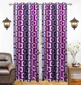 Best&well Box Polyester Eyelet Window Curtain (4x5 Ft) Purple - Pack Of 2