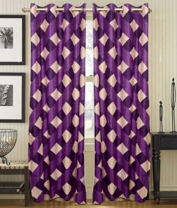 Best&well Check Box Polyester Eyelet Door Curtain (4x7 Ft) Purple - Pack Of 2