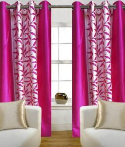 Best & Well Polyester Eyelet Window Curtain (4x5 Ft) Pink - Pack Of 2