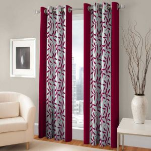 Best&well Polyester Eyelet Door Curtain (4x7 Ft) Pink - Pack Of 2
