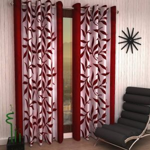 Best & Well Polyester Eyelet Door Curtain (4x7 Ft) Maroon - Pack Of 2