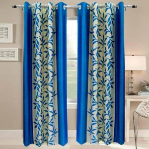 Best & Well Polyester Eyelet Window Curtain (4x5 Ft) Aqua - Pack Of 2