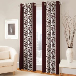 Best&well Polyester Eyelet Door Curtain (4x7 Ft) Brown - Pack Of 2