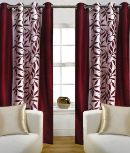 Best & Well Polyester Eyelet Window Curtain (4x5 Ft) Maroon - Pack Of 2