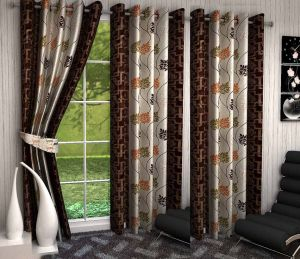 Curtains - SG Floral Brown Polyester Door Eyelet Stitch Curtains 7 Feet (Set of 3)