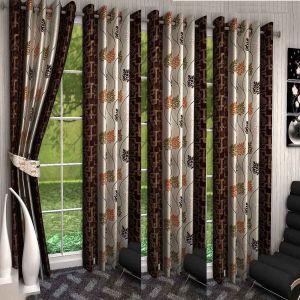 Bathroom Essentials - SG Floral Brown Polyester Door Eyelet Stitch Curtains 7 Feet (Set of 4)
