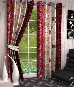 Shower curtains - SG Floral Maroon Polyester Door Eyelet Stitch Curtains 7 Feet (Set of 2)