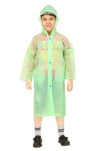 Sweaters , rain jackets & seasonal wear - Real Rainwear Green Baggy Printed PVC Fabric Raincoat for Boys - RRCHGR