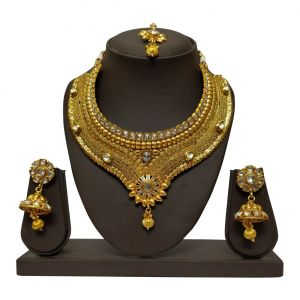 jagdamba,surat diamonds,valentine,jharjhar,asmi,tng Necklace Sets (Imitation) - JHARJHAR GOLD TRADITIONAL NECKLACE SET (code -JV-101)