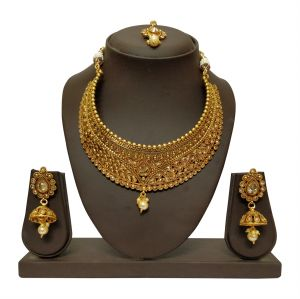 Kiara,Shonaya,Jharjhar,Kalazone,Sangini,Surat Tex Women's Clothing - JHARJHAR GOLD TRADITIONAL NECKLACE SET (code -JV-102)