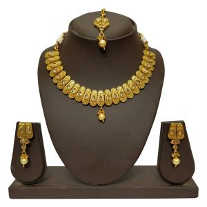 Asmi,Sukkhi,Sangini,Lime,Pick Pocket,Jharjhar,Diya,Jpearls Women's Clothing - JHARJHAR GOLD TRADITIONAL NECKLACE SET (Code - JV-103)