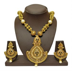 triveni,my pac,clovia,jharjhar,surat diamonds Necklace Sets (Imitation) - JHARJHAR GOLD TRADITIONAL NECKLACE SET (Code - JV-104)