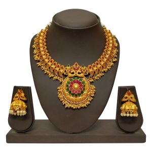 triveni,my pac,clovia,jharjhar,surat diamonds Necklace Sets (Imitation) - JHARJHAR GOLD TRADITIONAL NECKLACE SET (code -JV-105)