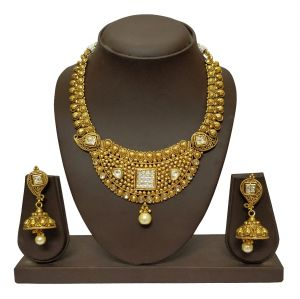 triveni,my pac,clovia,jharjhar,surat diamonds Necklace Sets (Imitation) - JHARJHAR GOLD TRADITIONAL NECKLACE SET (code - JV-106)