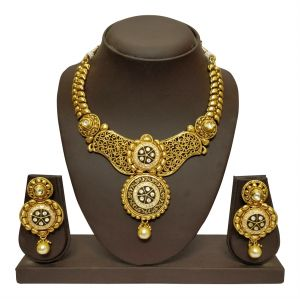 The Jewelbox,Jpearls,Jharjhar,Pick Pocket,Surat Diamonds Women's Clothing - JHARJHAR GOLD TRADITIONAL NECKLACE SET (code - JV-107)