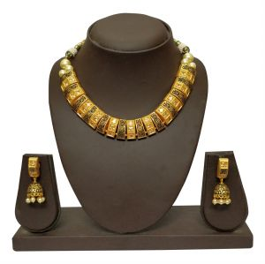 Kiara,La Intimo,Shonaya,Jharjhar,Unimod,Port,Lime,Bikaw,Hoop Women's Clothing - JHARJHAR GOLD TRADITIONAL NECKLACE SET (code - JV-108)