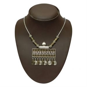 fasense,flora,jharjhar,Surat Diamonds,Jpearls Necklaces (Imitation) - JHARJHAR SILVER TRADITIONAL NECKLACE (Code - JV-110)