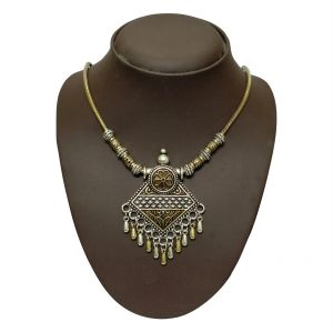 jagdamba,surat diamonds,valentine,jharjhar,asmi,soie Necklaces (Imitation) - JHARJHAR SILVER TRADITIONAL NECKLACE (Code - JV-111)