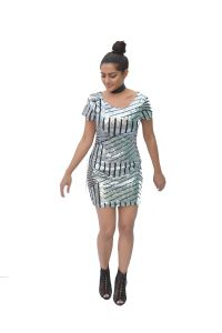 Kiara,Sukkhi,Jharjhar,Soie,Ag,Parineeta,Shonaya,Lime Women's Clothing - JHARJHAR SILVER LINING SEQUIN DRESS (JV-24)