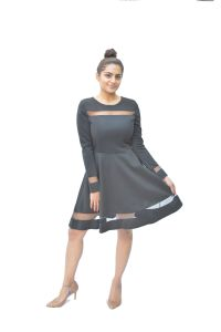 jagdamba,surat diamonds,valentine,jharjhar,asmi,oviya Western Dresses - JHARJHAR BLACK WINDOW COTTON DRESS (JV-25)