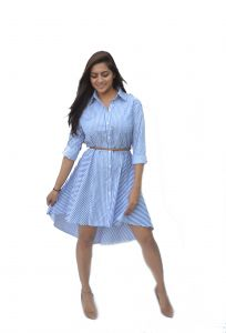 Flora,Oviya,Fasense,The Jewelbox,Asmi,Jharjhar Women's Clothing - JHARJHAR BUTTON UP BLUE COTTON DRESS (JV-28)