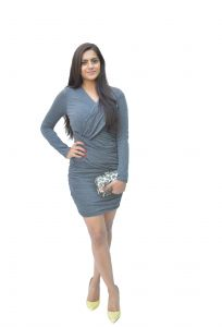 Kiara,The Jewelbox,Jpearls,Jharjhar,Clovia Women's Clothing - JHARJHAR CROSSOVER GRAY COTTON DRESS (JV-29)